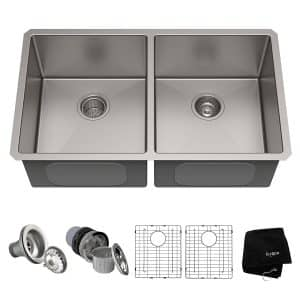 Kraus KHU102-33 33 inch Undermount 50 50 Double Bowl 16 gauge Stainless Steel Kitchen Sink